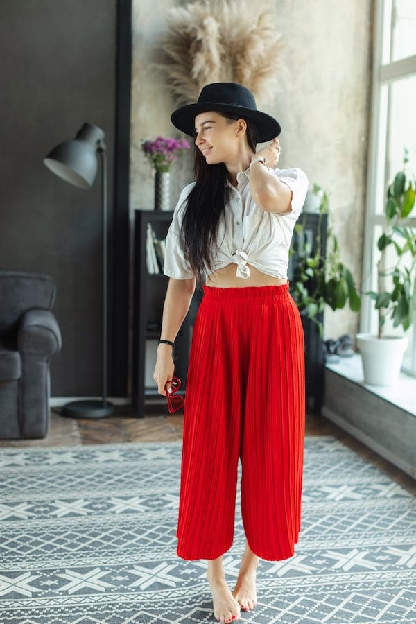 Rode culotte stylish outfit